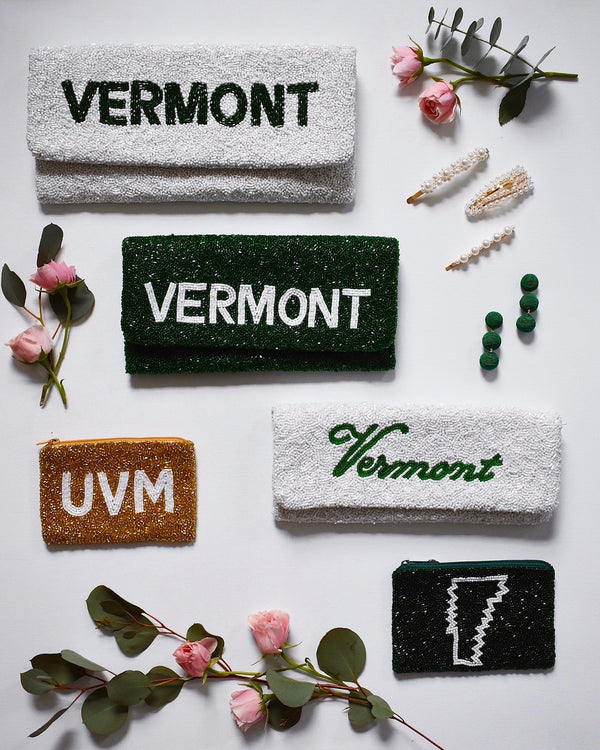Vermont Script Beaded Clutch