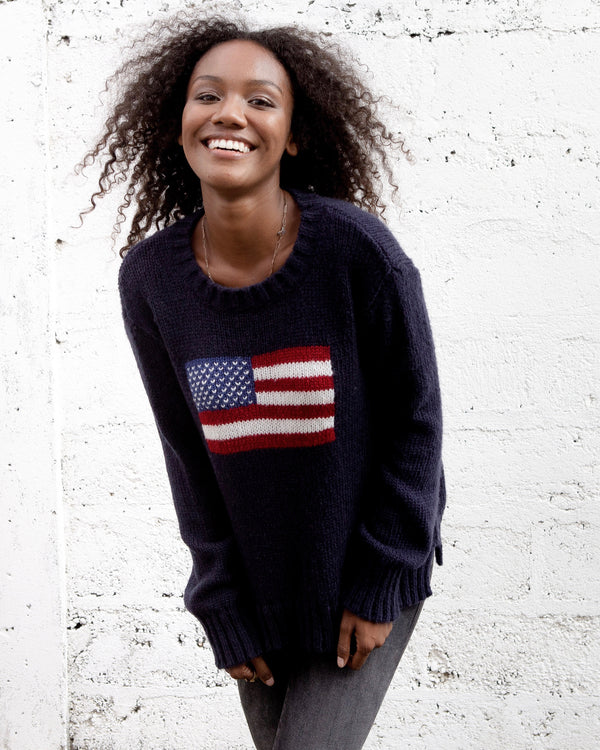 Wooden Ships Flag Sweater, Navy