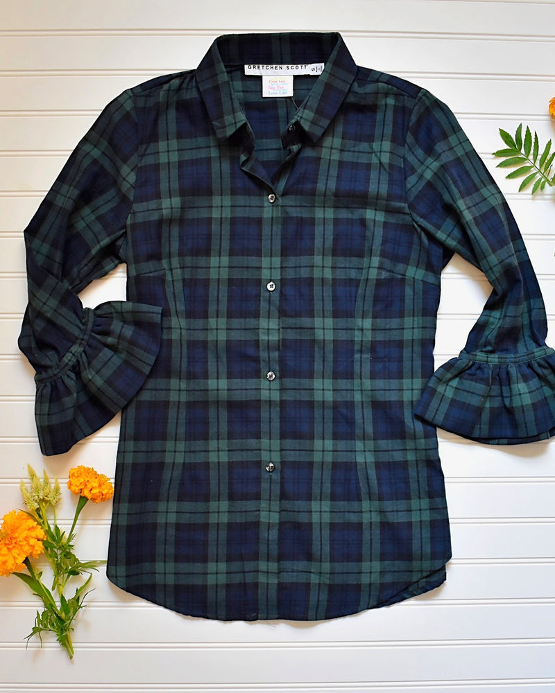 Priss Flannel Blouse, Navy Plaid