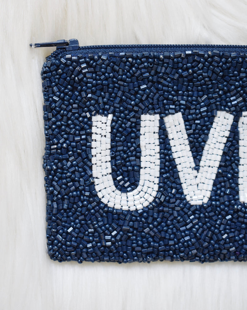 UVM Beaded Zip Pouch