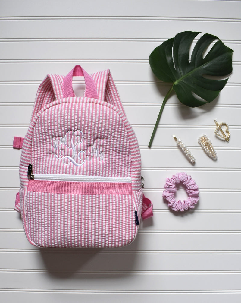 Monogrammed Seersucker Backpack