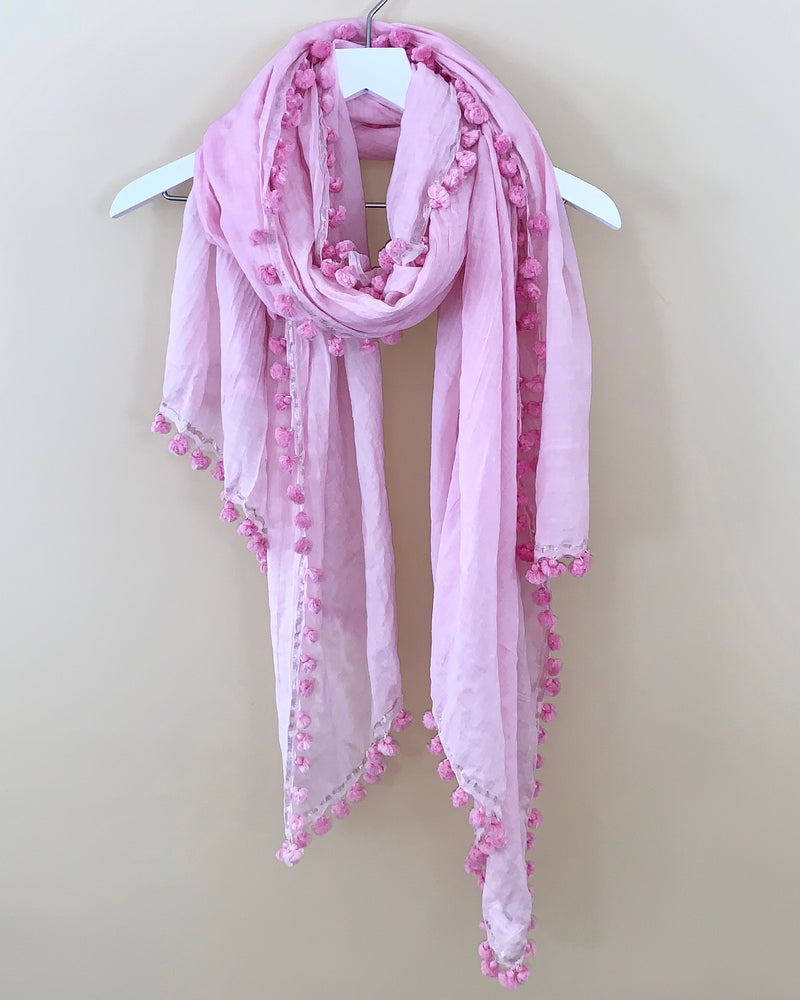 Joshi Silk Cotton Pom Pom Scarf