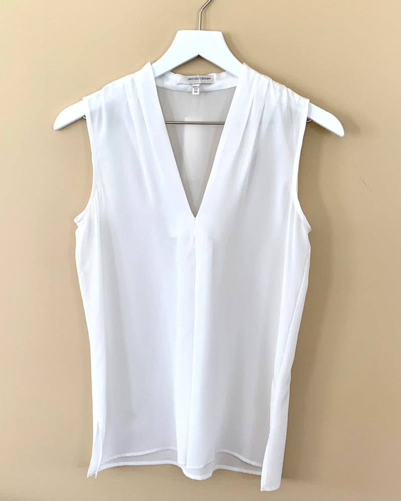 Lavender Brown Vee Silk Tank