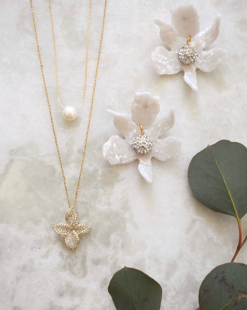 Plumeria Crystal Necklace