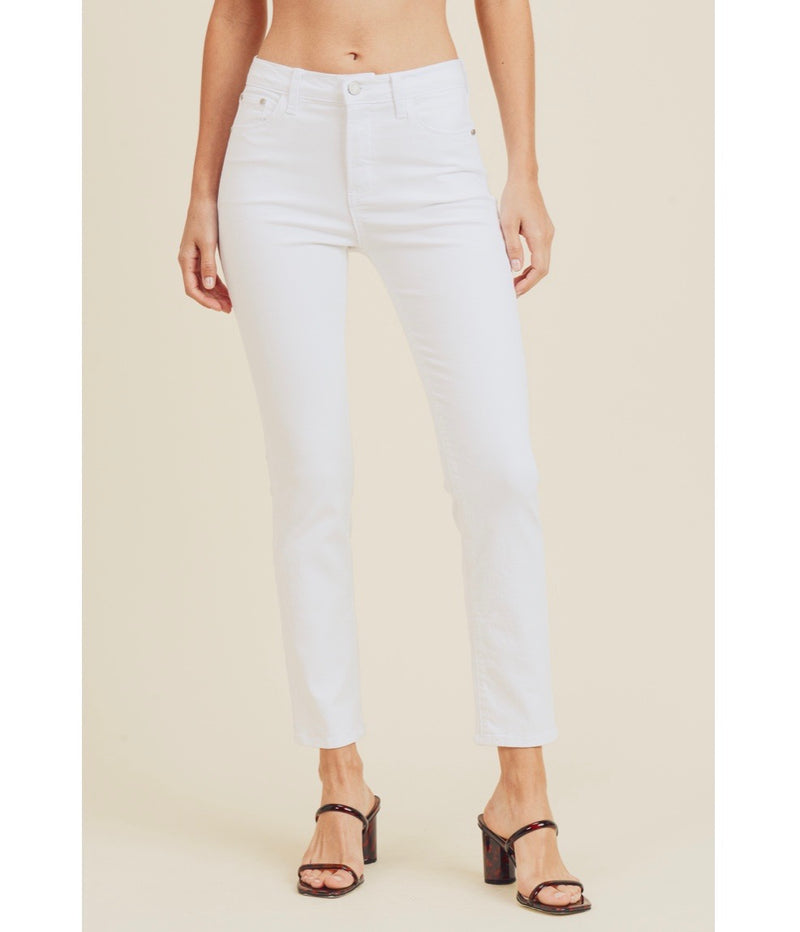 Clean White High Rise Cigarette Jean