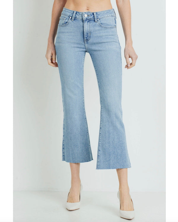 Light Denim High Rise Cropped Flare