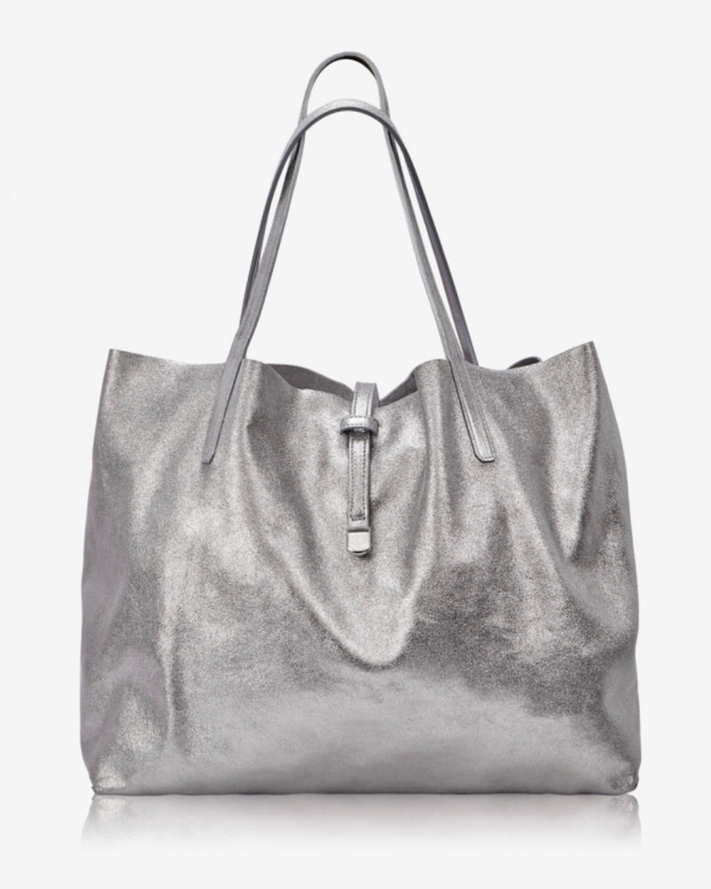 Gigi New York Reversible Grey Suede Tote