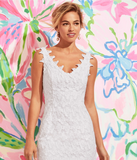 "Lilly Pulitzer ""Reeve"" Shift, Resort White Papillon Lace"