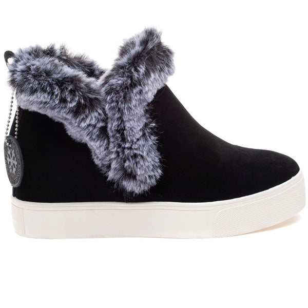 J/SLIDES Sean Waterproof Suede Wedge Bootie, Black