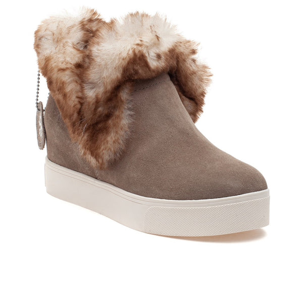 J/SLIDES Sean Waterproof Suede Wedge Bootie, Taupe
