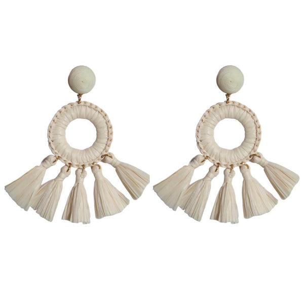 St Armands Designs of Sarasota - Rio Raffia Tassel Earrings