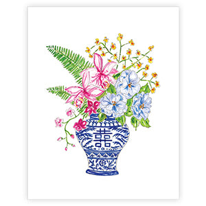 "RosanneBeck Collections - 8"" x 10"" Floral In Asian Urn Print"