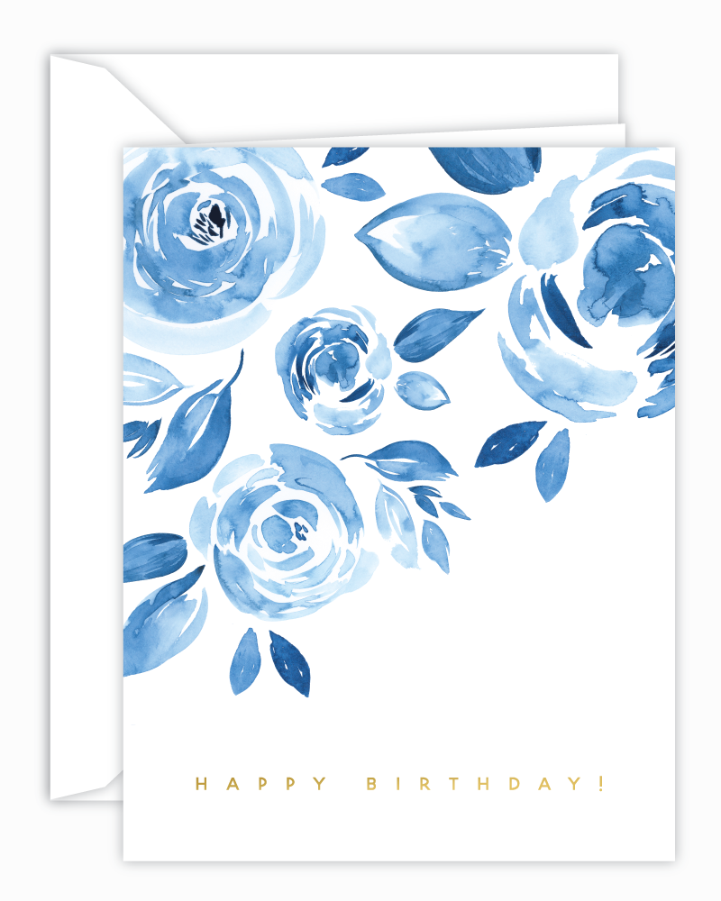 Cricket Printing - Blue Floral Watercolor Birthday Card