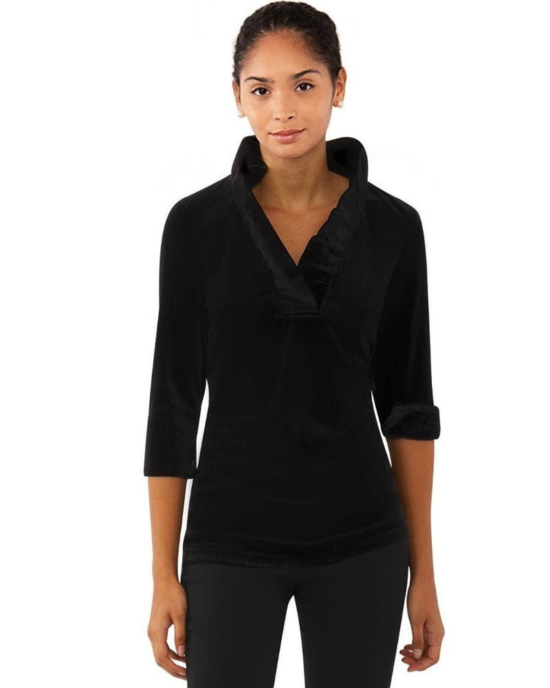 Gretchen Scott Velvet Ruffneck Top