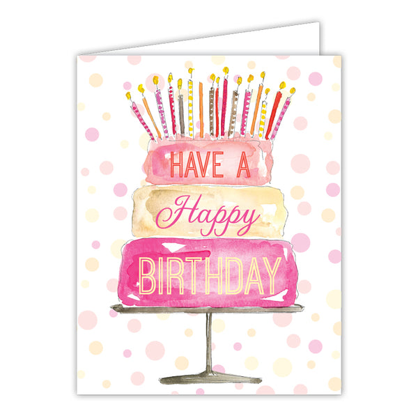 RosanneBeck Collections - Have a Happy Birthday Cake Pink Small Folded Greeting Card