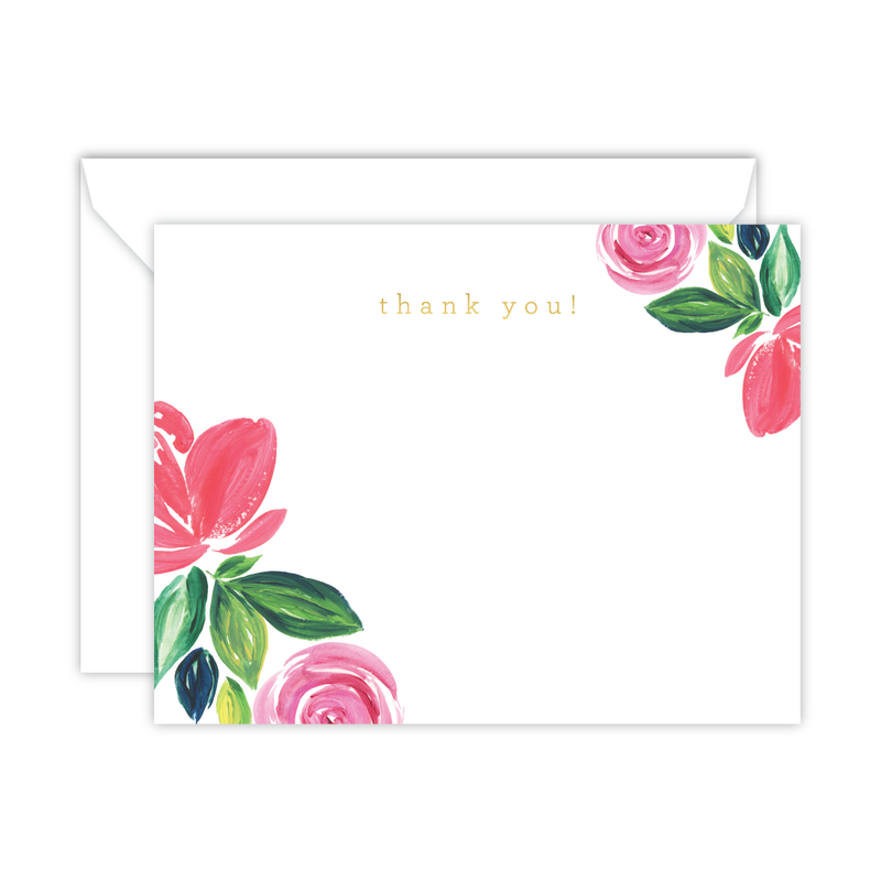 Cricket Printing - Pink Floral Watercolor Thank You Note Cards