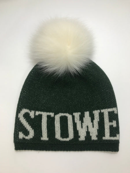 STOWE cashmere blend Pom Pom hat, Hunter Green