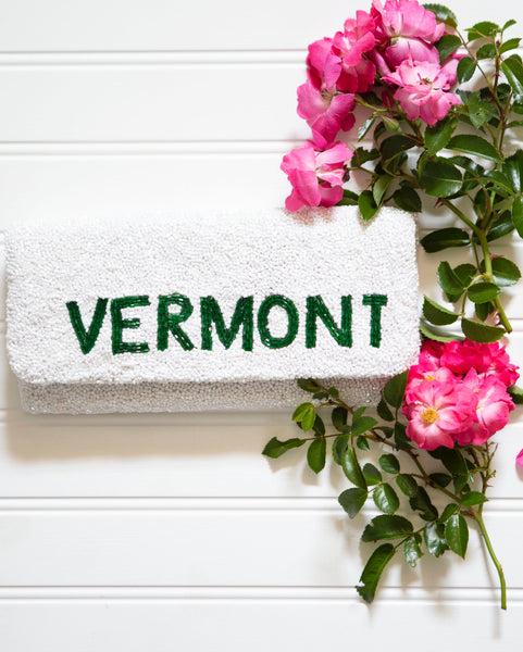 VERMONT beaded foldover clutch