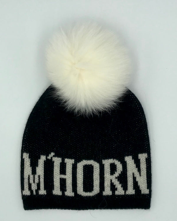 "Monelle Exclusive ""M'HORN"" Cashmere Blend Pom Pom Hat"