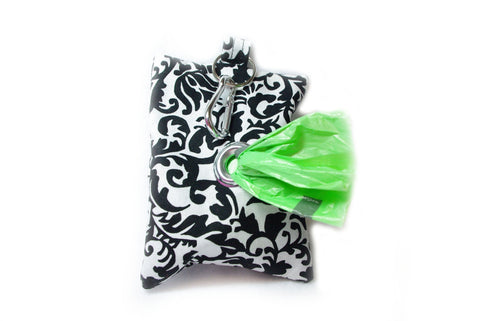 Black and White Damask - Doggy Poop Bag Holder