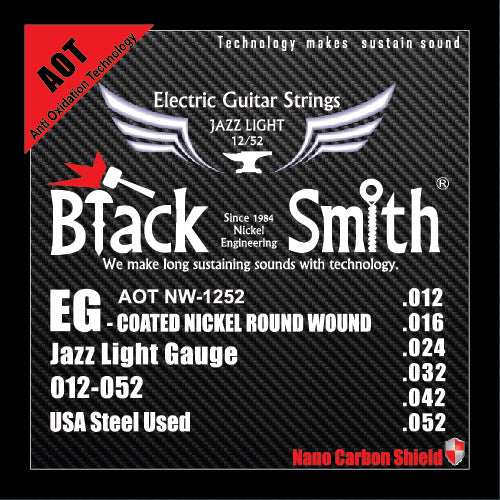 Blacksmith 6 String Nano-Carbon Coated Electric Guitar Strings - Medium 012 - 052
