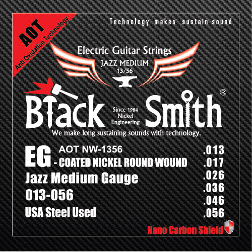 Blacksmith 6 String Nano-Carbon Coated Electric Guitar Strings - Jazz Medium 013 - 056