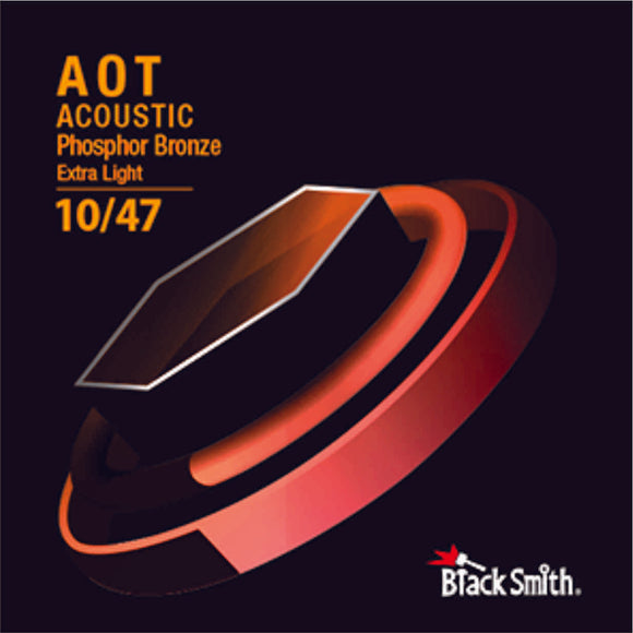 BlackSmith 6 String Nano-Carbon Coated Phosphor Bronze Acoustic Guitar Strings - Extra Light 010 - 047