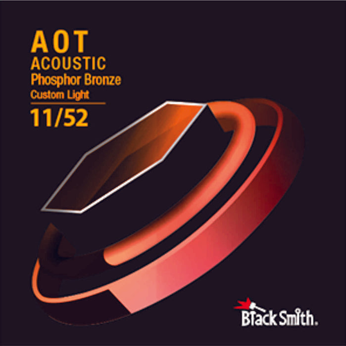 BlackSmith 6 String Nano-Carbon Coated Phosphor Bronze Acoustic Guitar Strings - Custom Light 011 - 052