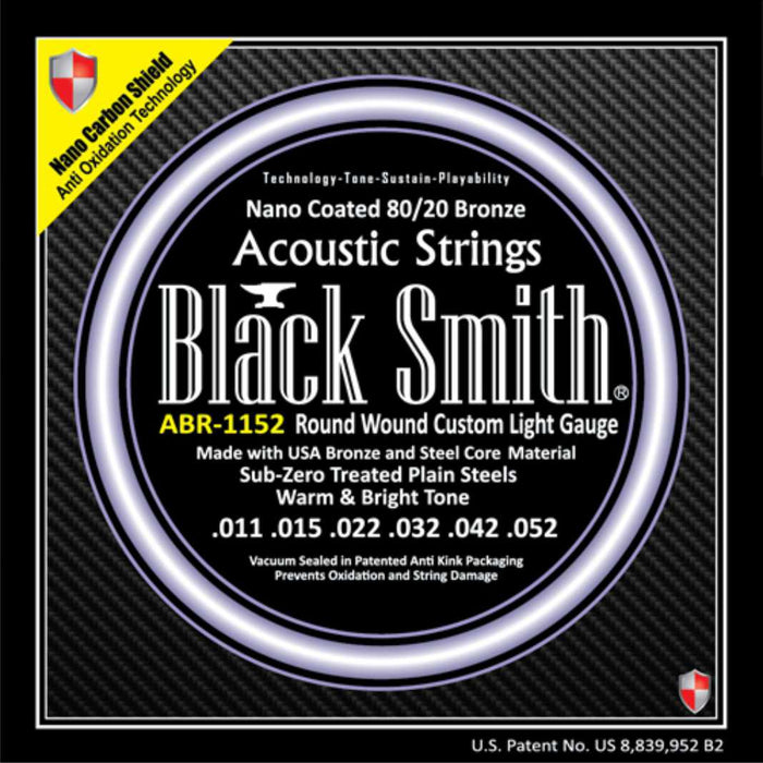 Blacksmith 6 String Nano-Carbon Coated 80/20 Bronze Acoustic Guitar Strings - Custom Light - 11-52