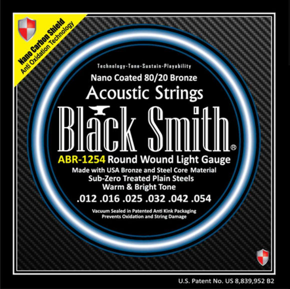 Blacksmith 6 String Nano-Carbon Coated 80/20 Bronze Acoustic Guitar Strings - Light 12-54