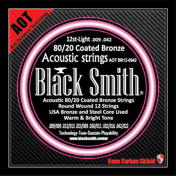 Blacksmith 12 String Nano-Carbon Coated Acoustic Guitar Strings - Light 009 - 042