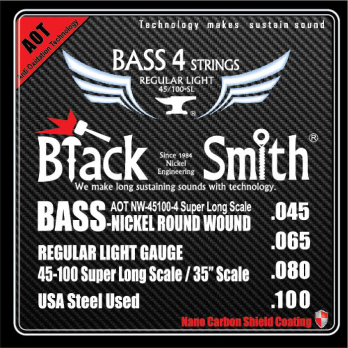 Blacksmith Nano Carbon Coated Bass Guitar 4 String Set - Regular Light 45-100
