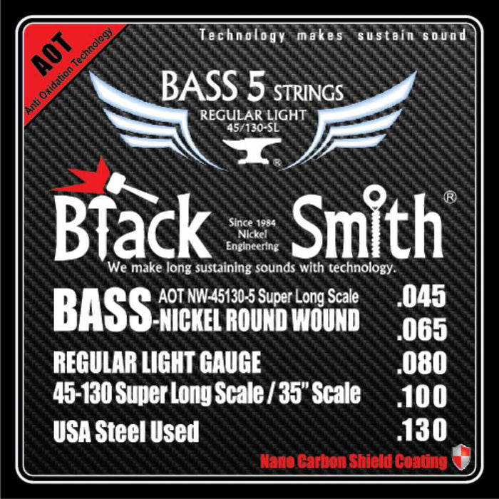 Blacksmith Nano Carbon Coated Bass Guitar 5 String Set - Regular Light 45-130