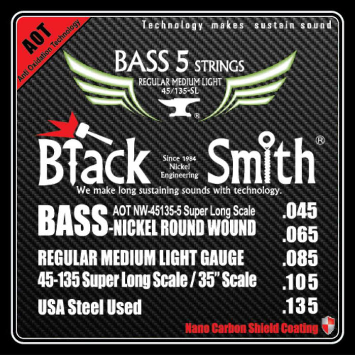 Blacksmith Nano Carbon Coated Bass Guitar 5 String Set - Regular Medium Light 45-135