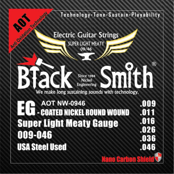 Blacksmith 6 String Nano-Carbon Coated Electric Guitar Strings - Super Light Meaty 009 - 046