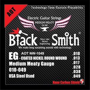 Blacksmith 6 String Nano-Carbon Coated Electric Guitar Strings - Medium Meaty 010 - 049