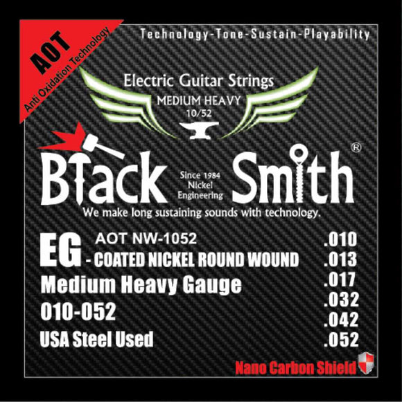 Blacksmith 6 String Nano-Carbon Coated Electric Guitar Strings - Medium Heavy 010 - 052