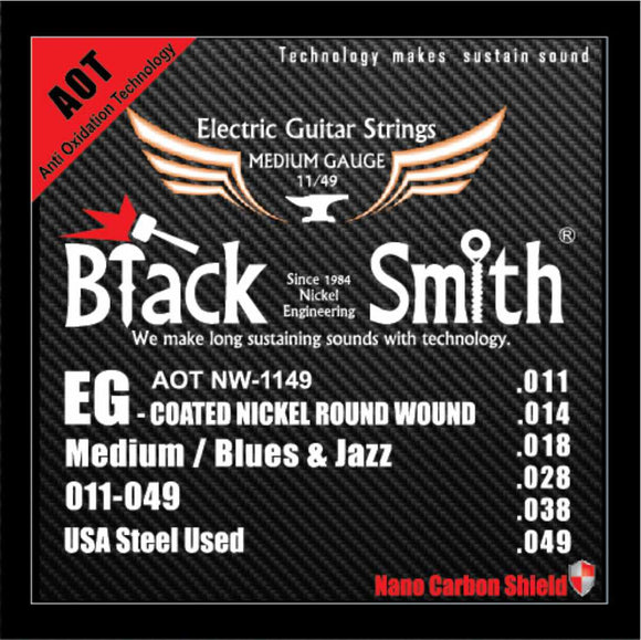 Blacksmith 6 String Nano-Carbon Coated Electric Guitar Strings - Medium 011 - 049