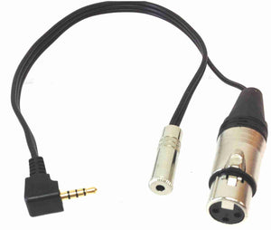 iPhone/iPad Microphone Adapter Cable with XLR Female + Headphone Jack - AMERICAN RECORDER TECHNOLOGIES, INC. - 1
