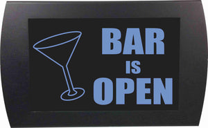 BAR IS OPEN (Martini Glass) - LED Indicator Sign