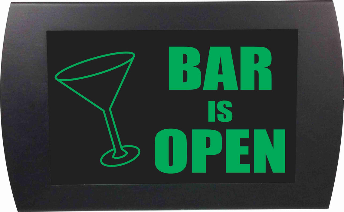 "AMERICAN RECORDER - ""BAR IS OPEN"" (Martini Glass) - LED Lighted Sign"