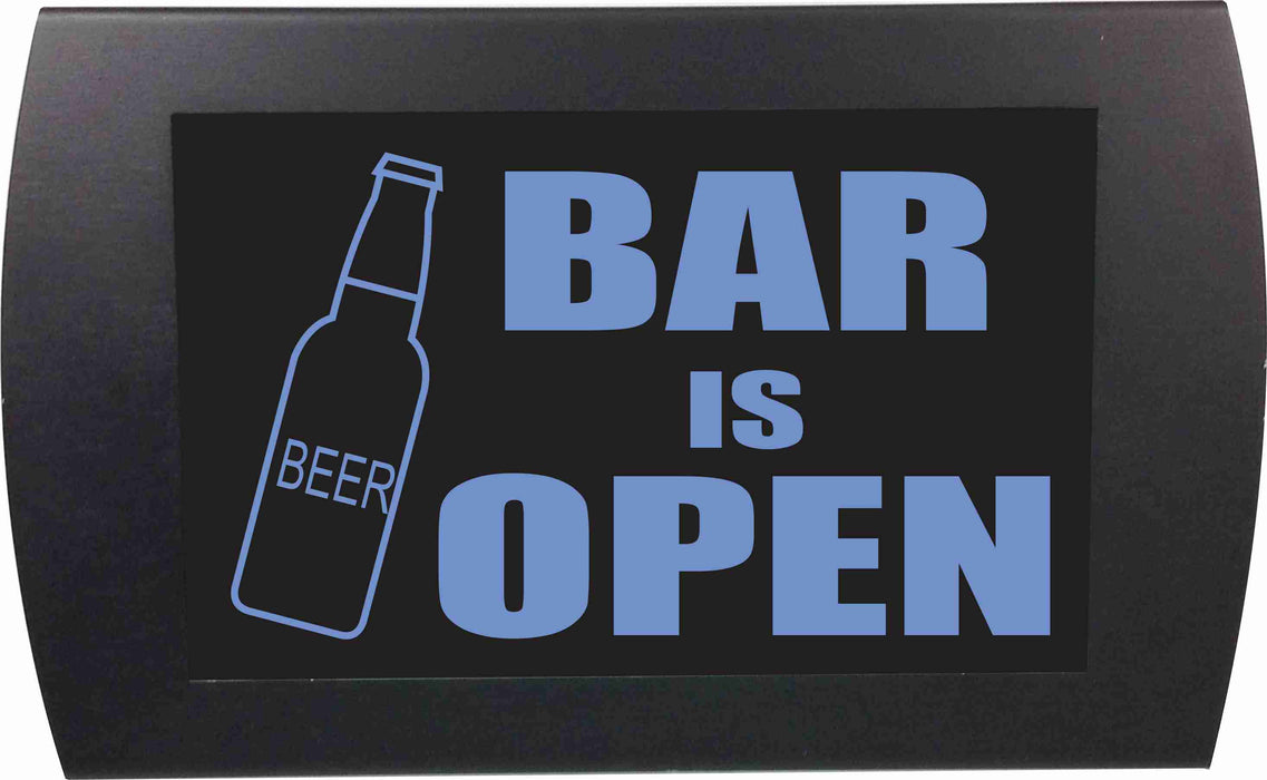 "AMERICAN RECORDER - ""BAR IS OPEN"" (Beer Bottle) LED Lighted Sign"