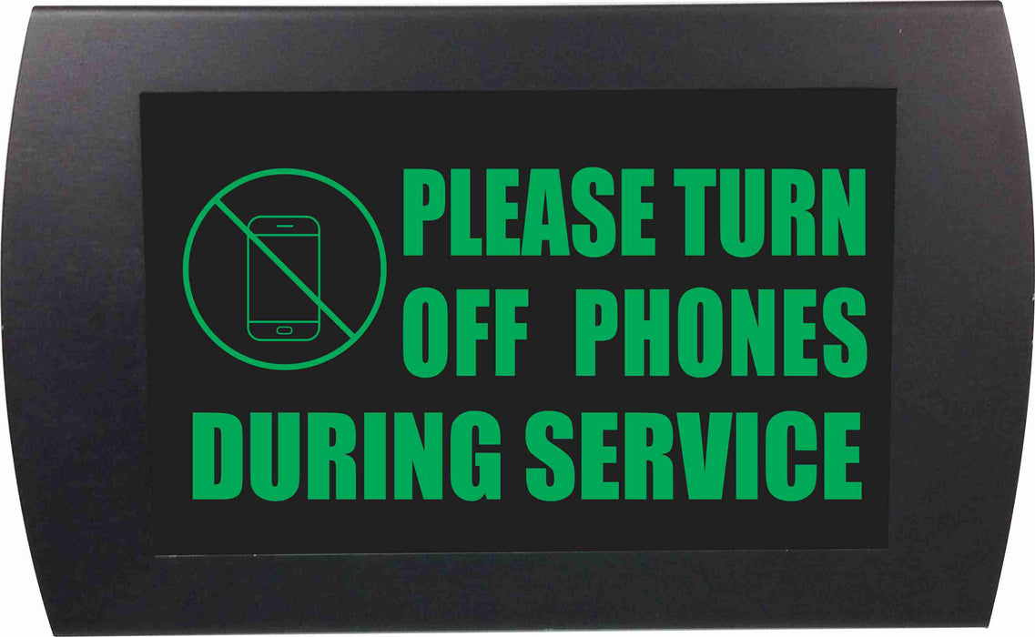 "AMERICAN RECORDER - ""PLEASE TURN OFF PHONES DURING SERVICE"" LED Lighted Sign"