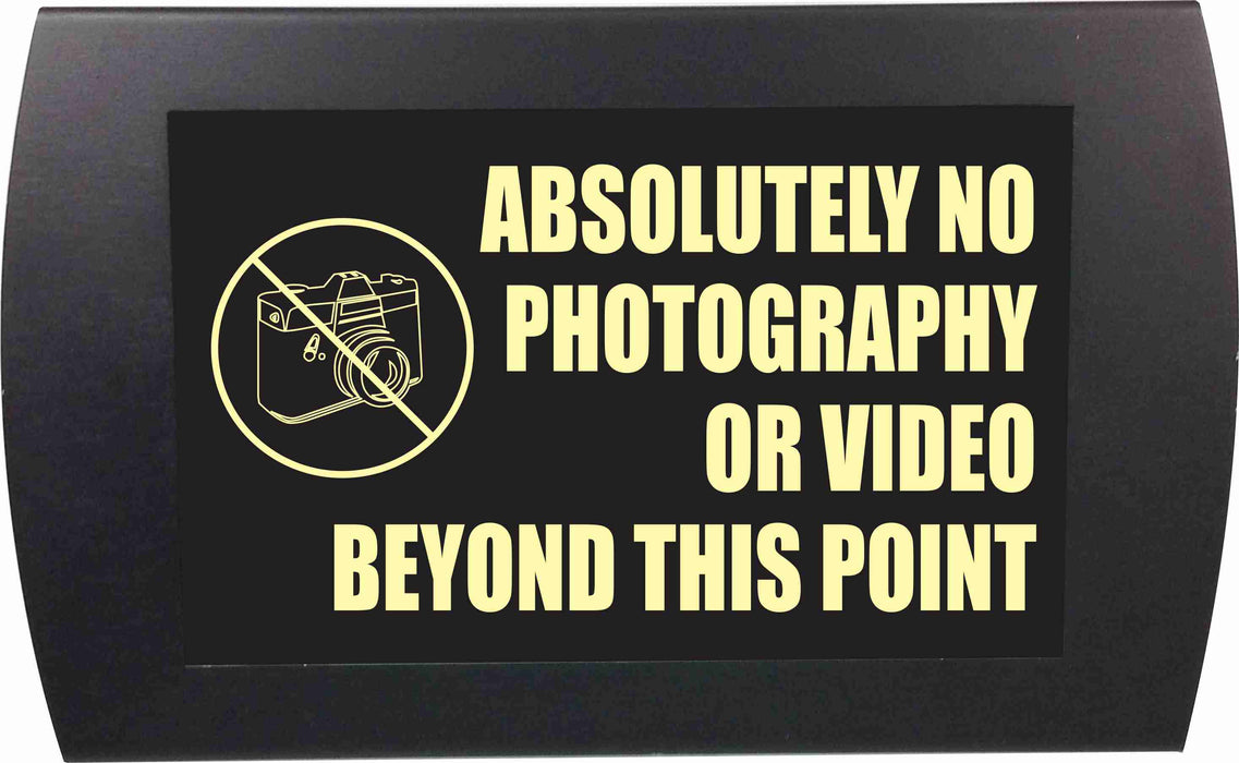 "AMERICAN RECORDER - ""ABSOLUTELY NO PHOTO OR VIDEO BEYOND THIS POINT"" LED Lighted Sign"