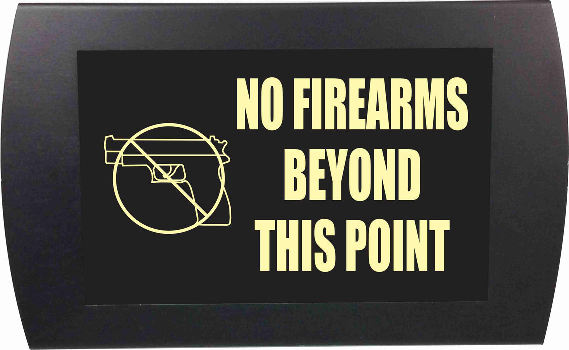 "AMERICAN RECORDER - ""NO FIREARMS BEYOND THIS POINT"" LED Lighted Sign"
