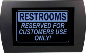 "AMERICAN RECORDER - ""RESTROOMS Reserved for Customers Use Only"" LED Lighted Sign"