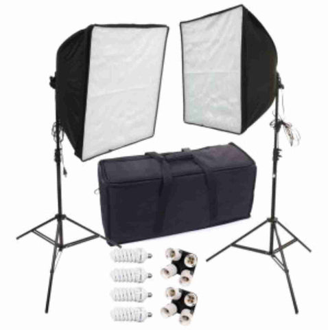 """DELUXE DUAL 20"" SOFTBOX KIT with 4 CFL BULBS AND STANDS"