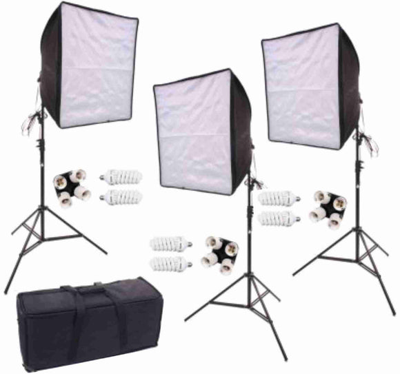 Zumm Photo Deluxe 3 Piece 20 inch HP  Square 3 Softbox Kit (6 CFL Bulbs) w/Bag