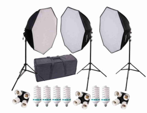 28 inch HP Octagonal 3 Softbox Kit (6 CFL Bulbs)