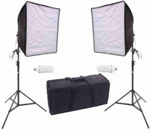 Zumm Photo 20 inch Square Dual Softbox Kit (2 CFL Bulbs) & Stands